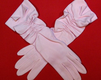 Size 6-1/2 Fownes Nylo Pale Pink Ruched Formal Gloves