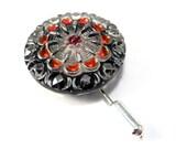 Vintage Button Hat Pin / Brooch - Scarlet Red Mandala Czech Glass