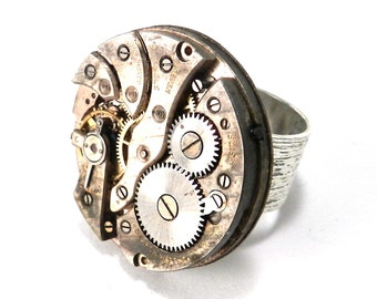 Steampunk Ring - Unique Mechanical Watch Movement Brushed Silver Ring- Steampunk Jewelry by Compass Rose Design