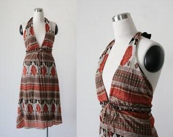 1990s Boho Paisley Print Summer Dess Beach Halter Dress Medium M