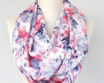 Spring scarf floral infinity scarf coral red navy blue zinnia flower long loop scarf circle scarf summer scarves mothers day gift for women