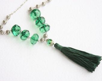 Tassel necklace emerald green boho necklace long necklace boho jewelry bohemian necklace summer necklace statement jewelry green necklace