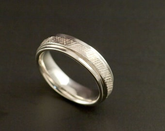 White Gold or Silver Mens Wedding Ring, comfort fit, textured, Womens engagement or wedding band