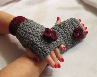 Handwarmers....Fingerless Gloves....with a Fabulous Flower...Grey and Wine