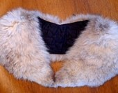 vintage grey and white fox fur collar stole