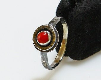 Size 6.25 Ring Handcrafted Sterling Silver Red Coral Stack Ring Friendship Rings Promise Ring Contemporary Artisan Jewelry 462536857614