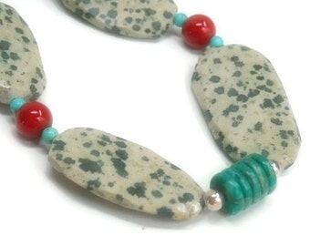 Dalmation Jasper Necklace - Jasper, Turquoise Necklace - Red Coral - Polka Dot - Dalmation Jasper Slabs - Red, Turquoise, Cream - Gemstone