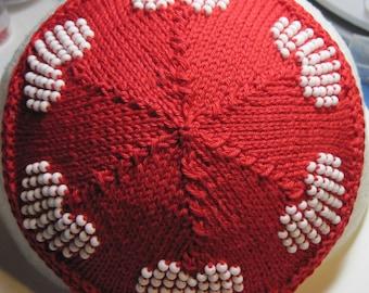 White Beaded Hearts on Red Kippah