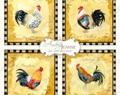 Tuscan Rooster Digital Art Print, AJR-208E 4 inch, Set of four paintings Collage Sheet, use for tiles squares, greeting card & coasters