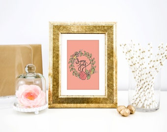 Choose Joy | 2015 | Floral Wreath | Handlettered | Print | Peach Spring Flower