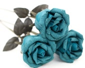 3 teal leather rose bouquet third Anniversary wedding gift Long Stem leather Flower Valentine's Day 3rd Leather Anniversary Mother's Day