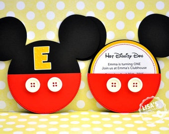 Custom Mickey Mouse Birthday Invitations Handmade by Lisa