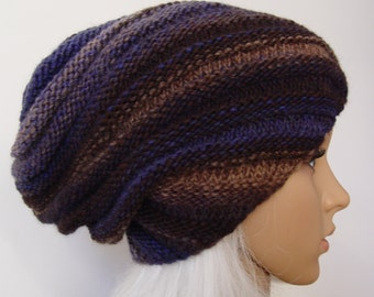 Blue, gray and brown variations Knitted Slouchy Hat, Beanie Hat MADE TO ORDER