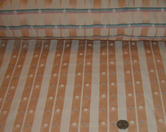 Vintage Home Decor Decorator Striped Peach Color Fabric Upholstery Fabric 1 Yard Long 56 Inches Wide