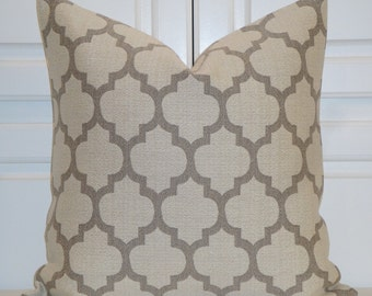 Taupe & Beige Quatrefoil Pillow Cover  - Moroccan Pillow Cover - Trellis Accent Pillow - Geometric Pillow - Cushion Cover