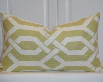 Decorative Pillow Cover  - Gatework Pattern - Chartreuse and Ivory - Trellis Pillow - Geometric Design