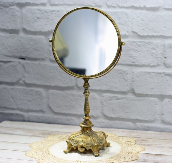 vintage vanity table mirror two sided mirror ornate pedestal. Black Bedroom Furniture Sets. Home Design Ideas