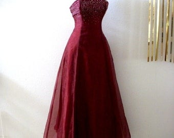 Vintage 80s Burgundy Evening Dress - Cranberry Tulle Party Prom Dress - Corset Back Party Dress with Rhinestones - Spaghetti Strap - X Small