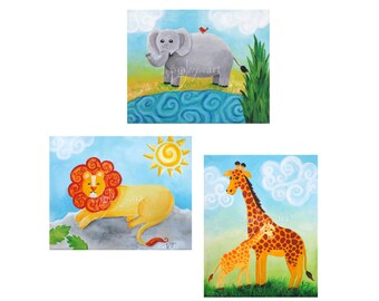 Zoo Animal Art Prints, Three 8x10 inch, Art Prints For Childrens Rooms, Nursery Decor, Lion, Giraffe, Elephant