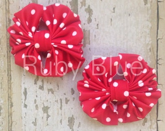 Red Mini Dot Piggy-Tail Clips - Mini Messy Bow Clips