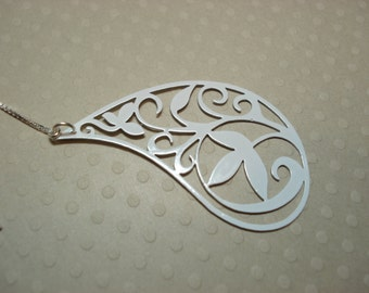 Large White Paisley on Sterling Ear Threads- Threader Earrings/Necklace-FREE SHIPPING To U.S.-