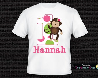 Personalized Girl Monkey 1st Birthday T-Shirt or Bodysuit ANY AGE AVAILABLE
