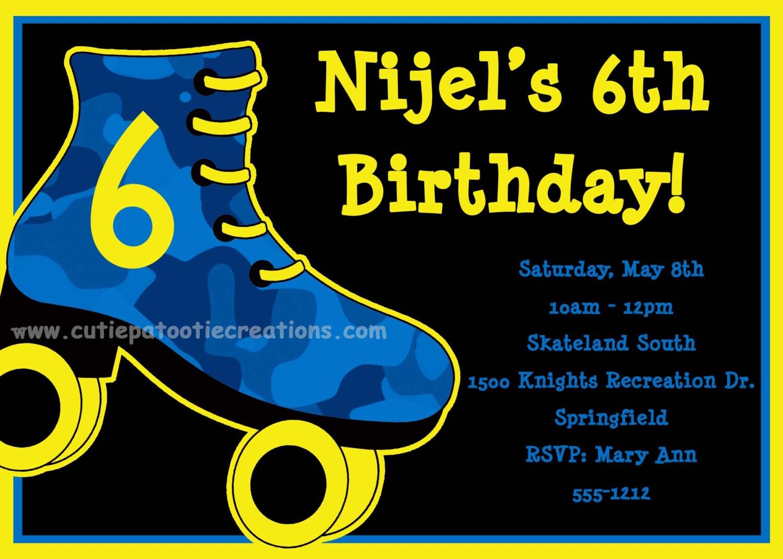 Boys Roller Skating Birthday Invitation By Onewhimsychick