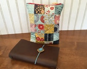 Patchwork quilted zippered pouch fits a Midori Traveler's Notebook Fieldnotes, field note, passport, fauxdori, Raydori