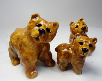 Grizzly Bear Family - Three Bears - Mother and Babies - Pottery Animals - Forest Animals - Bear Figurines - Ceramic Brown Bears - set of 3