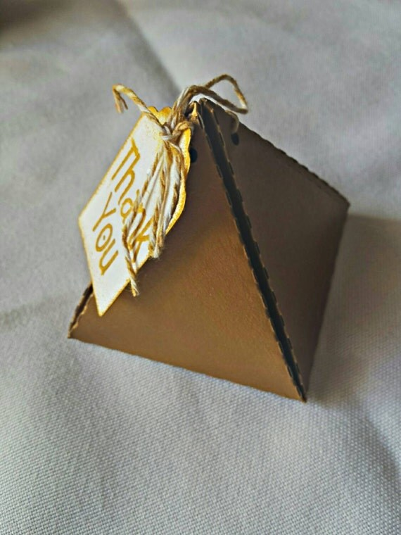 Gold Pyramid Favor Boxes : Pyramid favor box gold favors chocolate