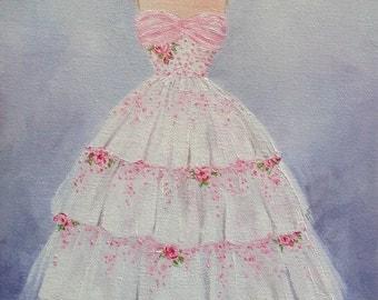 Vintage Dress Print, Fifties Art, Dress Painting, Vintage Art, 50's.