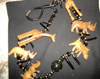 Wooden Handcarved animal necklace