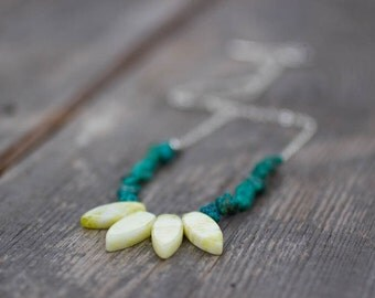 Jasper Necklace, Turquoise, Green Necklace, Gift for Her, Boho Jewelry