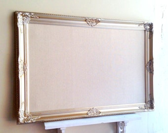 Wedding SEATING CARD HOLDER Large Bulletin Board Champagne Cream Ivory Vintage Decor Framed Magnetic Fabric Memo Board REAdY to SHiP