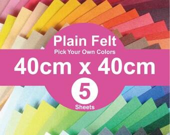 5 Plain Felt Sheets - 40cm x 40cm per sheet - pick your own colors (A40x40)