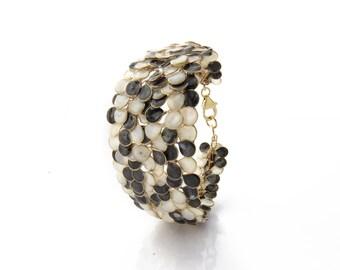 Black and White Enamel Handmade Bracelet, Fashion Chic Bracelet, Unique Bangle,Summer look,Classic enamel mix made in Israel,fashion jewelry