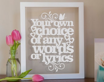 Personalised Wall Art 'Your Words' Papercut (A4)