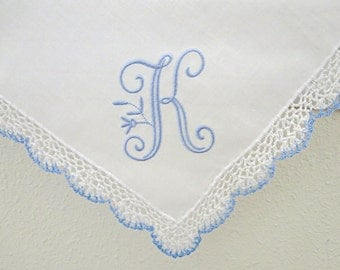 Wedding Handkerchief:  Blue/White Crochet Lace Handkerchief with Peony Design 1-Initial Monogram