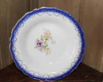 Antique Flo-Blue Serving Bowl, Collectible China, Vintage Transfer-ware Pansies, Home & Living, Edwardian Display Bowl, 1900's period China