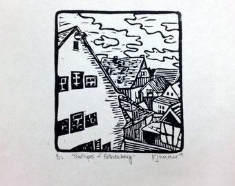 Rooftops of Rothenburg Linocut