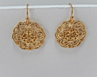 Gold Earrings, Round Earrings, Dangly Earrings, Gift for Her, Filagree Earrings