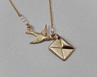 Golden Bird Necklace, Envelope Necklace, Messenger Bird, Seed Pearl Necklace, Secret Message