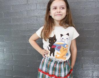Vintage Girls Plaid Long Skirt