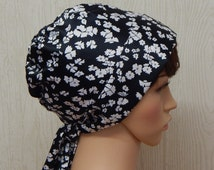 Black and White Headscarf, Pretty Womens Chemo Cap, Vintage Style Head Scarf Jewish Prayer Headcovering Hair Snood, Summer Head Cover Scarf