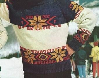 Vintage Mens Alpine Knit Sweater PDF Pattern