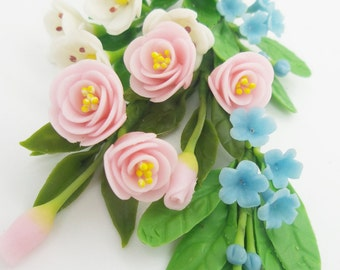Miniature Polymer Clay Handmade Flowers Supply with set of leaves, 6 bunches