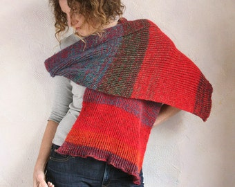 Indigo Red Heather soft chunky long ribbed unisex scarf knit with cotton and kid mohair