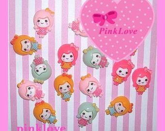Polka Dot Dolly Cabochons Resin Flatback Cute Kawaii Decoden Dolls 21mm Cabochon