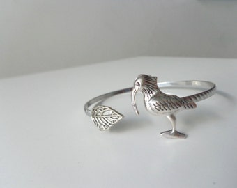 White Ibis bird wrap bracelet cuff, animal bracelet, charm bracelet, bangle