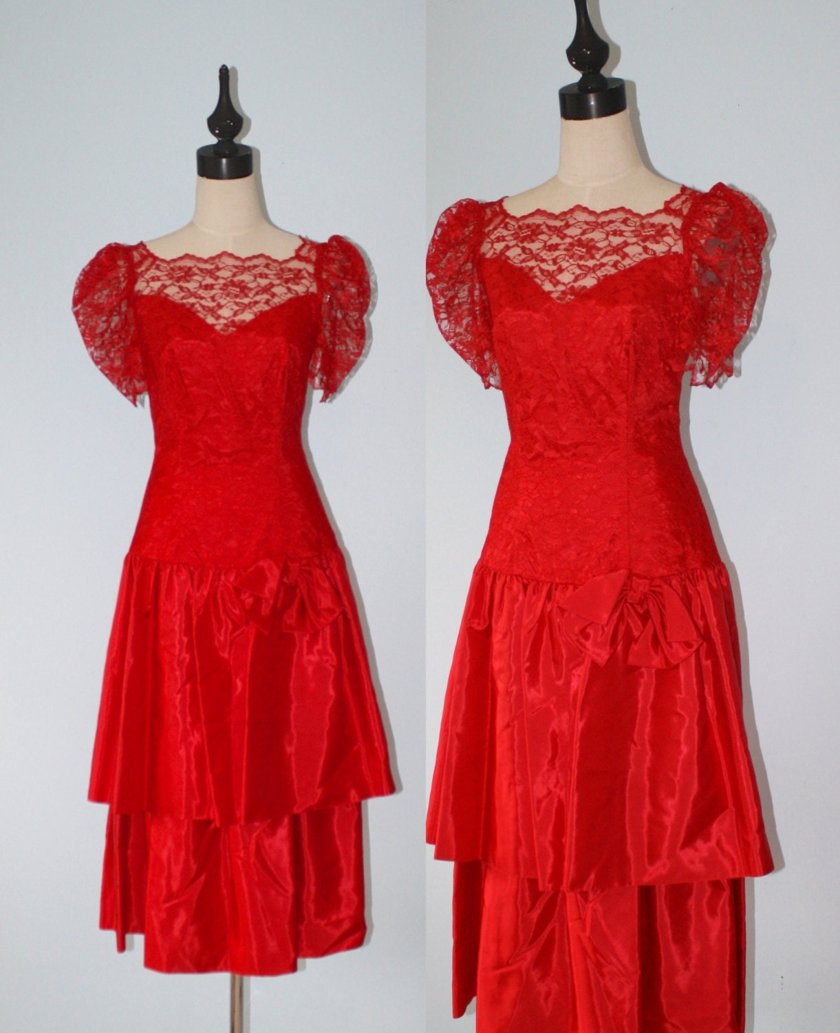 Vintage 1980 S Party Dress Lace Tulle Skirt Drop Waist: Vintage Red Lace Party Dress / 1980s Chantilly Lace And Satin